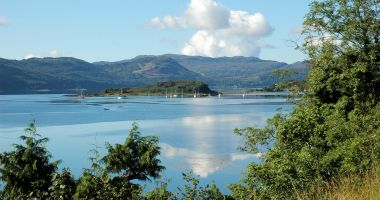 A superb view of Slumbay Island as seen from Croft Road, Lochcarron, near to the holiday property.